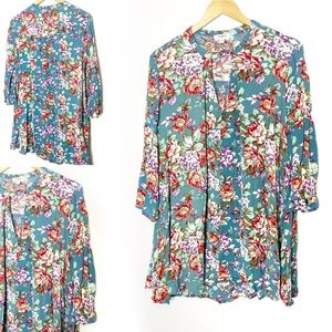 Umgee | Oversized Floral Top Shirt Blouse m